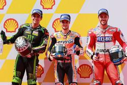 Pole sitter Dani Pedrosa, Repsol Honda Team, second place Johann Zarco, Monster Yamaha Tech 3, third place Andrea Dovizioso, Ducati Team
