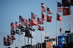 Flags in the garage area