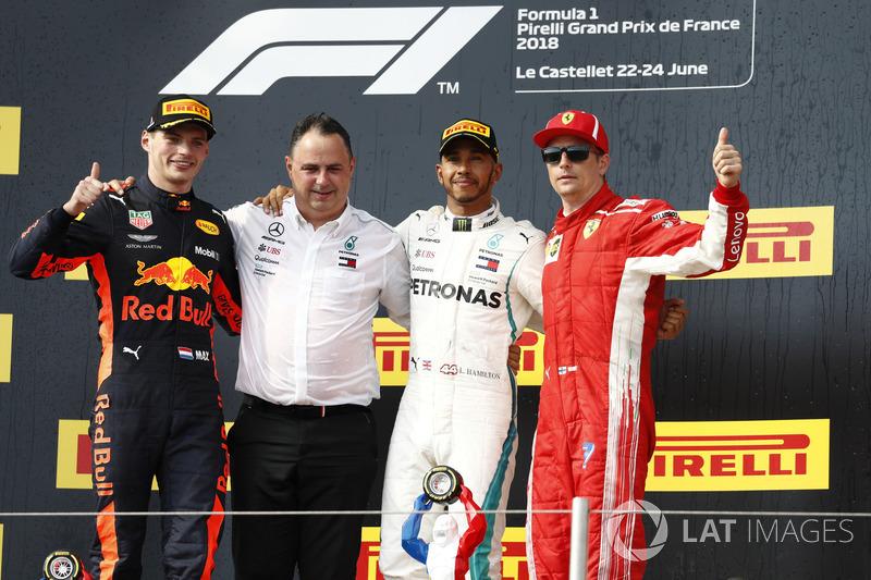 8. GP Perancis - Podium: Lewis Hamilton, Max Verstappen, Kimi Raikkonen