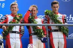 Overall podium: third place Mathias Beche, Gustavo Menezes, Thomas Laurent, Rebellion Racing