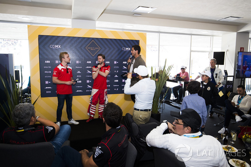 Felix Rosenqvist, Mahindra Racing & Nick Heidfeld, Mahindra Racing during a driver Q&A in EMOTION club