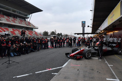 Kevin Magnussen, Haas F1 Team and Romain Grosjean, Haas F1 Team unveil the Haas F1 Team VF-18