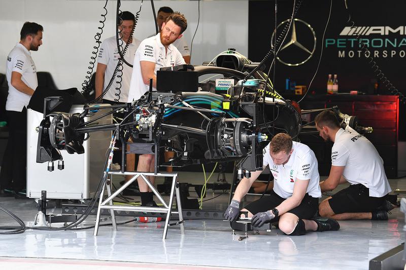 Mercedes crew members