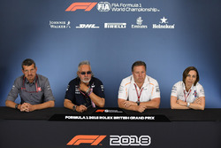 Guenther Steiner, Team Prinicipal, Haas F1 Team, Dr. Vijay Mallya, Force India Formula One Team Owner, Zak Brown, McLaren Racing CEO and Claire Williams, Williams Deputy Team Principal in the Press Conference