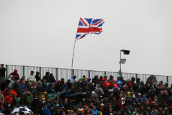Fans and Union Jack flag in the grandstand