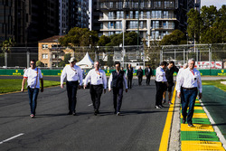 FIA officials walk the track, including, steward Derek Warwick, Charlie Whiting, Race Director, FIA and Laurent Mekies, F1 Deputy Race Director, FIA
