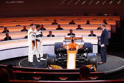 Fernando Alonso, McLaren, Stoffel Vandoorne, McLaren, and presenter Simon Lazenby discuss the MCL32 on stage