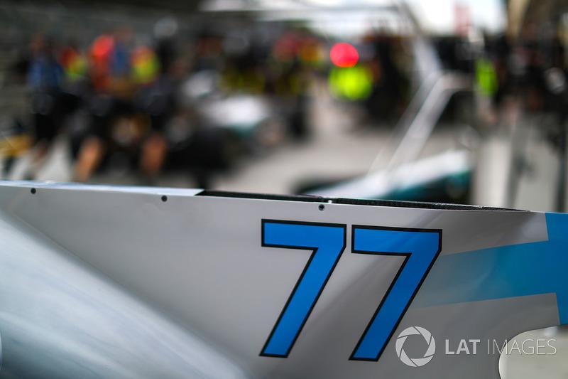 El detalle de la carrocería de Valtteri Bottas, híbrido de Mercedes-Benz F1 W08