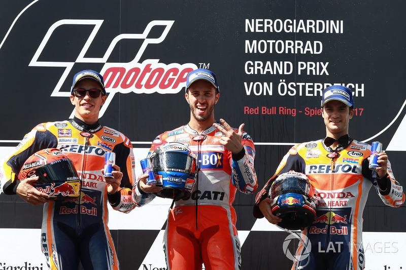 Podium : 1er Andrea Dovizioso, 2e Marc Márquez, 3e Dani Pedrosa