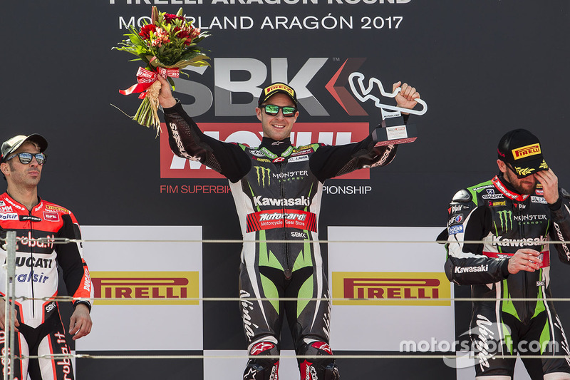 Podium: race winner Jonathan Rea, Kawasaki Racing, second place Marco Melandri, Ducati Team, third p