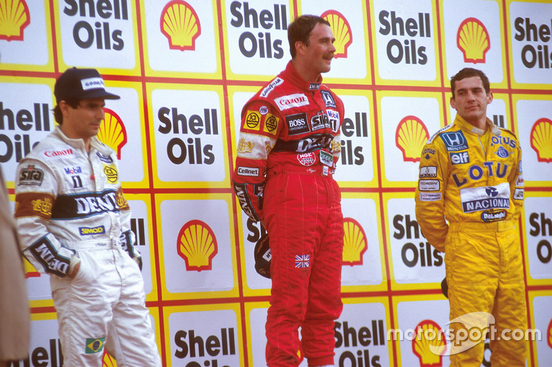 Podio: ganador de la carrera Nigel Mansell, Williams, segundo lugar Nelson Piquet, Williams, tercer lugar Ayrton Senna, Team Lotus