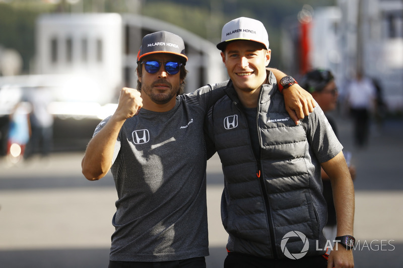 Fernando Alonso, McLaren, Stoffel Vandoorne, McLaren, display soliarity before the weekend