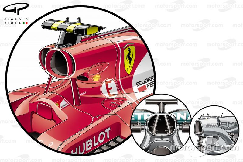 Ferrari SF70H vs. Mercedes F1 W08: Airbox, Vergleich