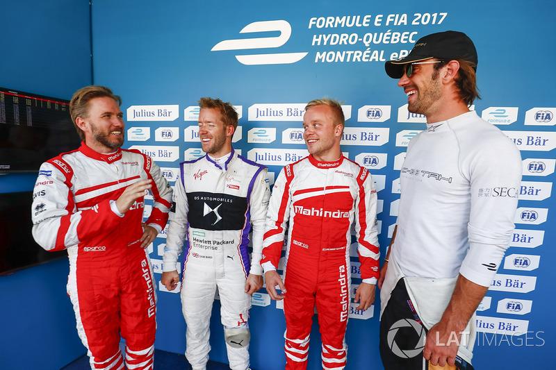 Nick Heidfeld, Mahindra Racing, Sam Bird, DS Virgin Racing, Felix Rosenqvist, Mahindra Racing, y Jea