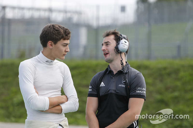 George Russell, HitechGP Dallara F312, Mercedes-Benz, mit Oliver Oakes