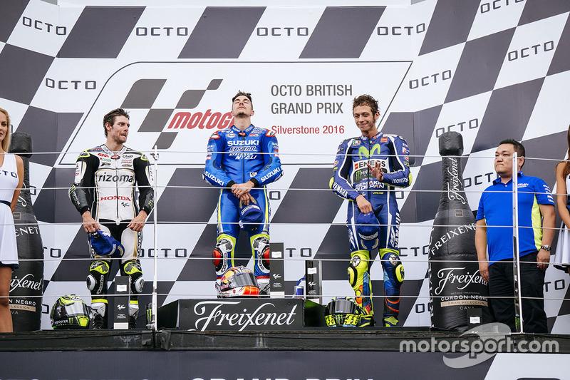 Podium: race winner Maverick Viñales, Team Suzuki MotoGP, second place Cal Crutchlow, Team LCR Honda