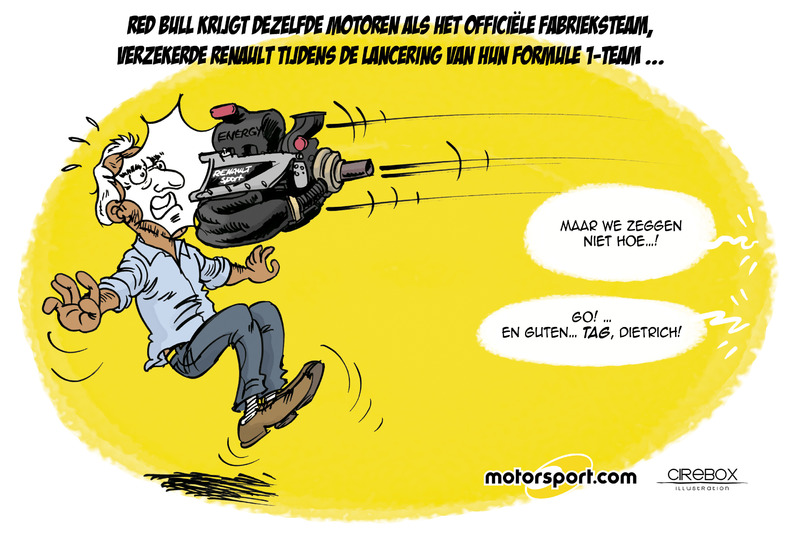 Cartoon van Cirebox - De Renault-motor voor Red Bull