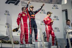 Kimi Raikkonen, Ferrari, Max Verstappen, Red Bull Racing and Sebastian Vettel, Ferrari celebrate on the podium