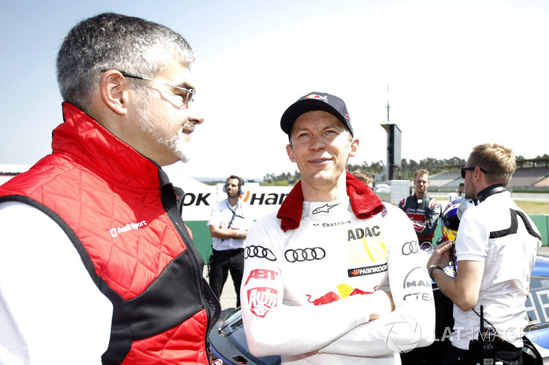 Dieter Gass, Head of DTM Audi Sport with Mattias Ekström, Audi Sport Team Abt Sportsline