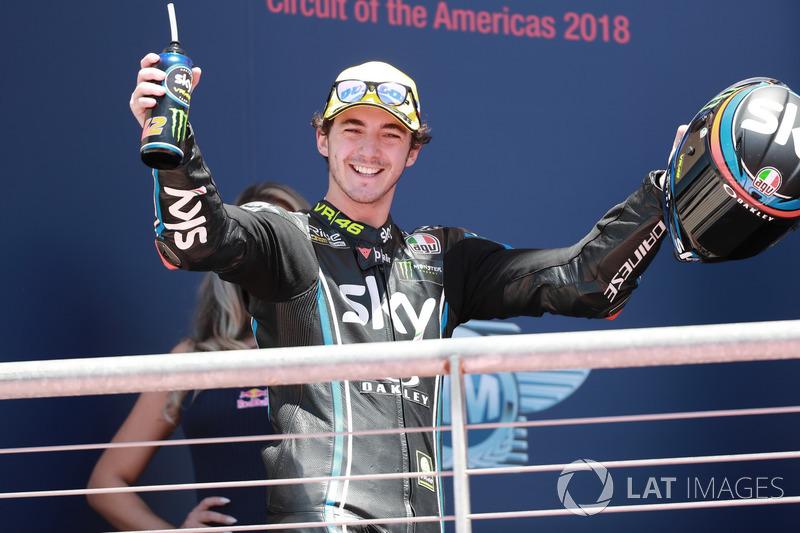 Podium : le vainqueur Francesco Bagnaia, Sky Racing Team VR46