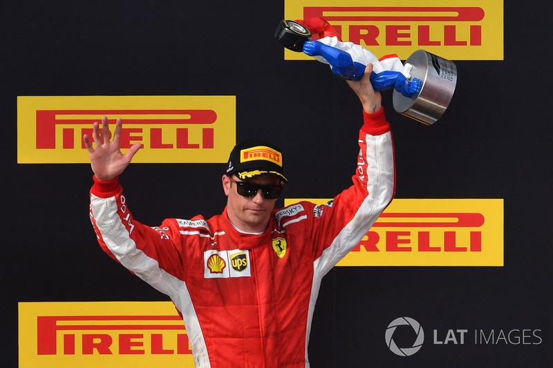 Kimi Raikkonen, Ferrari, celebra su podio en el GP de Francia