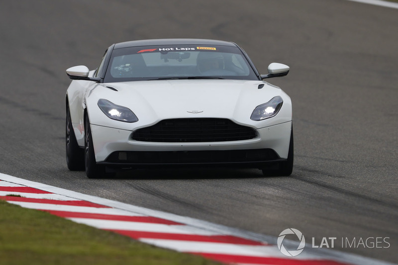 An Aston Martin DB11 is driven in Pirelli Hot Laps