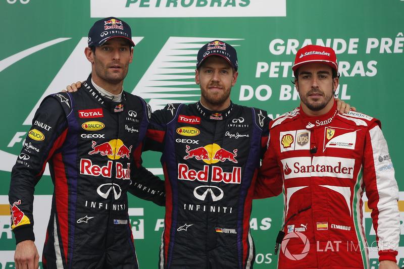 GP do Brasil: a prova em Interlagos fechou o campeonato de 2013, com vitória de Vettel, seguido de Webber e Alonso, de Ferrari.