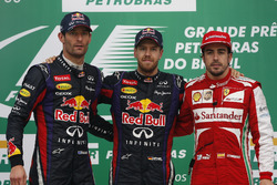 Podium: Race winner Sebastian Vettel, Red Bull Racing, second place Mark Webber, Red Bull Racing, third place  Fernando Alonso, Ferrari