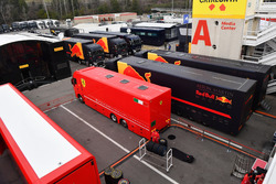 Ferrari and Red Bull Racing trucks in the Paddock