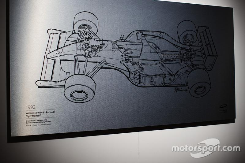 Ilustración de Giorgio Piola sobre el Williams campeón de 1992 de Nigel Mansell.