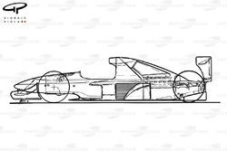 Схема Brabham BT60Y 1991 года, вид сбоку