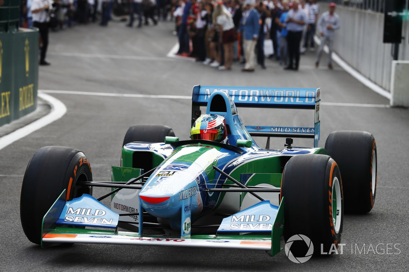 Mick Schumacher drives the Benetton Ford B194