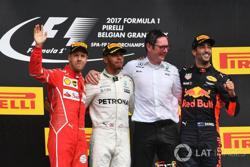 Belgian GP - Winner: Lewis Hamilton, 2. Sebastian Vettel, 3. Daniel Ricciardo
