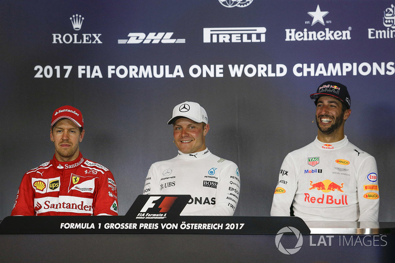 Press conference: race winner Valtteri Bottas, Mercedes AMG F1, second place Sebastian Vettel, Ferrari, third place Daniel Ricciardo, Red Bull Racing