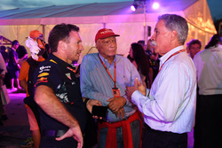 Christian Horner, Red Bull Racing Team Principal, Niki Lauda, Mercedes AMG F1 Non-Executive Chairman and Chase Carey, Chief Executive Officer and Executive Chairman of the Formula One Group at Petronas BBQ