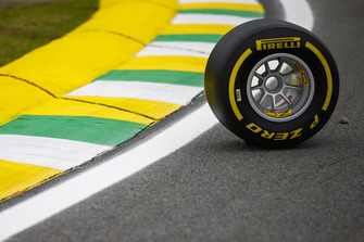 A Pirelli tyre on the circuit
