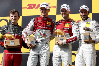 Podium: Winnaar René Rast, Audi Sport Team Rosberg, nummer twee Nico Müller, Audi Sport Team Abt Sportsline en nummer drie Gary Paffett, Mercedes-AMG Team HWA