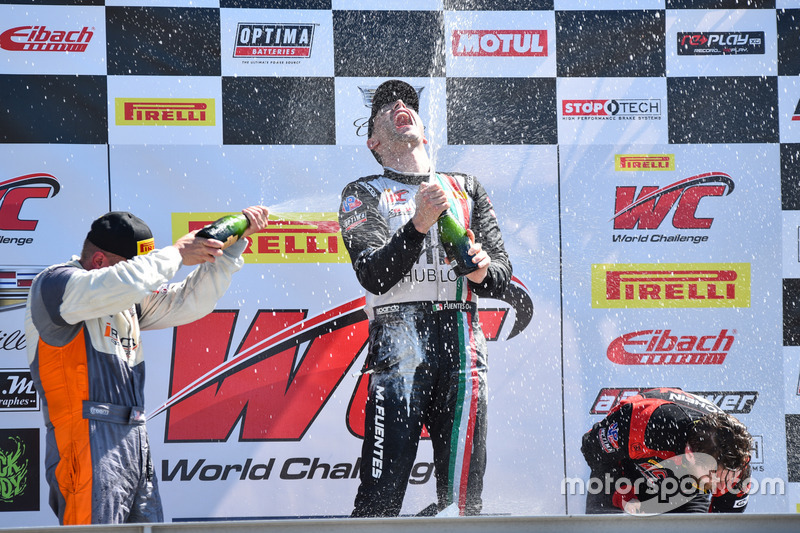 Podium GTA: 1. Martin Fuentes, Scuderia Corsa; 2. Drew Regitz, Stephen Cameron Racing; 3. Michael Schein, Wright Motorsports