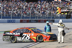 Martin Truex Jr., Furniture Row Racing Toyota with a blown engine