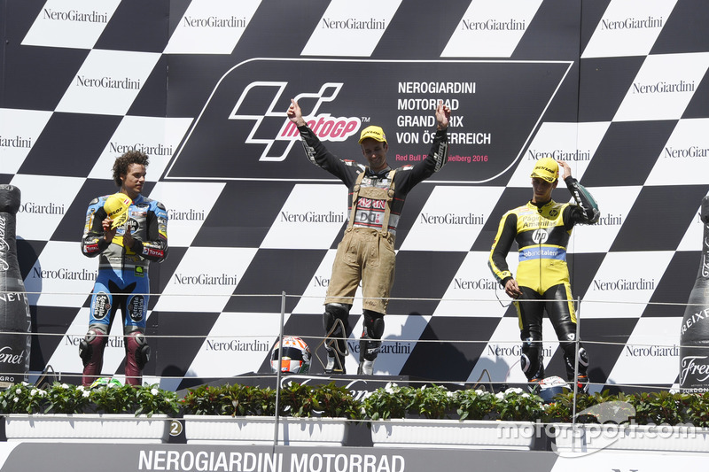 Podium: Race winner Johann Zarco, Ajo Motorsport, Kalex; second place Franco Morbidelli, EG 0,0 Marc