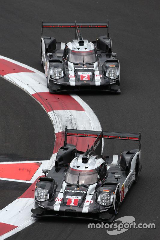 #1 Porsche Team Porsche 919 Hybrid: Timo Bernhard, Mark Webber, Brendon Hartley; #2 Porsche Team Por