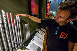 Romain Dumas inspecting previous year's results