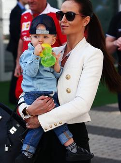 Minttu Virtanen, wife of Kimi Raikkonen Ferrari, with their baby son Robin