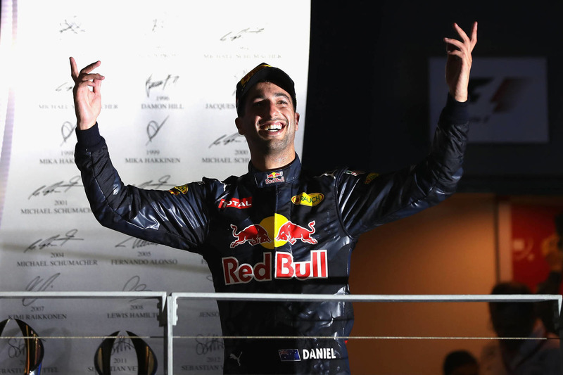 Daniel Ricciardo Red Bull Racing celebrate on the podium