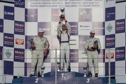 Podio TCR, Gara 1: il secondo classificato Imerio Brigliadori, BF Racing, il vincitore Roberto Colciago, AGS, il terzo classificato Samuele Piccin, BF Racing