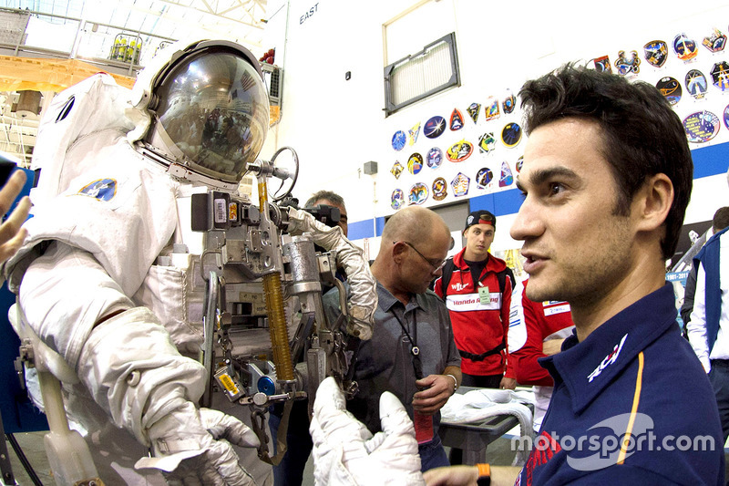 Dani Pedrosa, Repsol Honda Team checks out an astronaut suit during a visit to the NASA Johnson Space Center