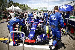 The Pierre Gasly Toro Rosso STR13 is attended to by mechanics on the grid