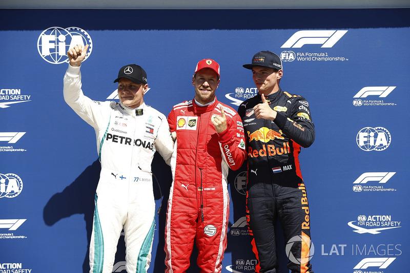 Valtteri Bottas, Mercedes-AMG F1, pole sitter Sebastian Vettel, Ferrari and Max Verstappen, Red Bull Racing celebrate in parc ferme
