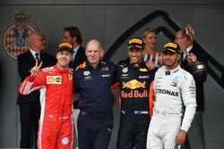 Second place Sebastian Vettel, Ferrari, Adrian Newey, Red Bull Racing, Race winner Daniel Ricciardo, Red Bull Racing, third place Lewis Hamilton, Mercedes-AMG F1 celebrate on the podium