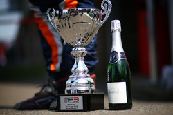 Winner trophy and champagne